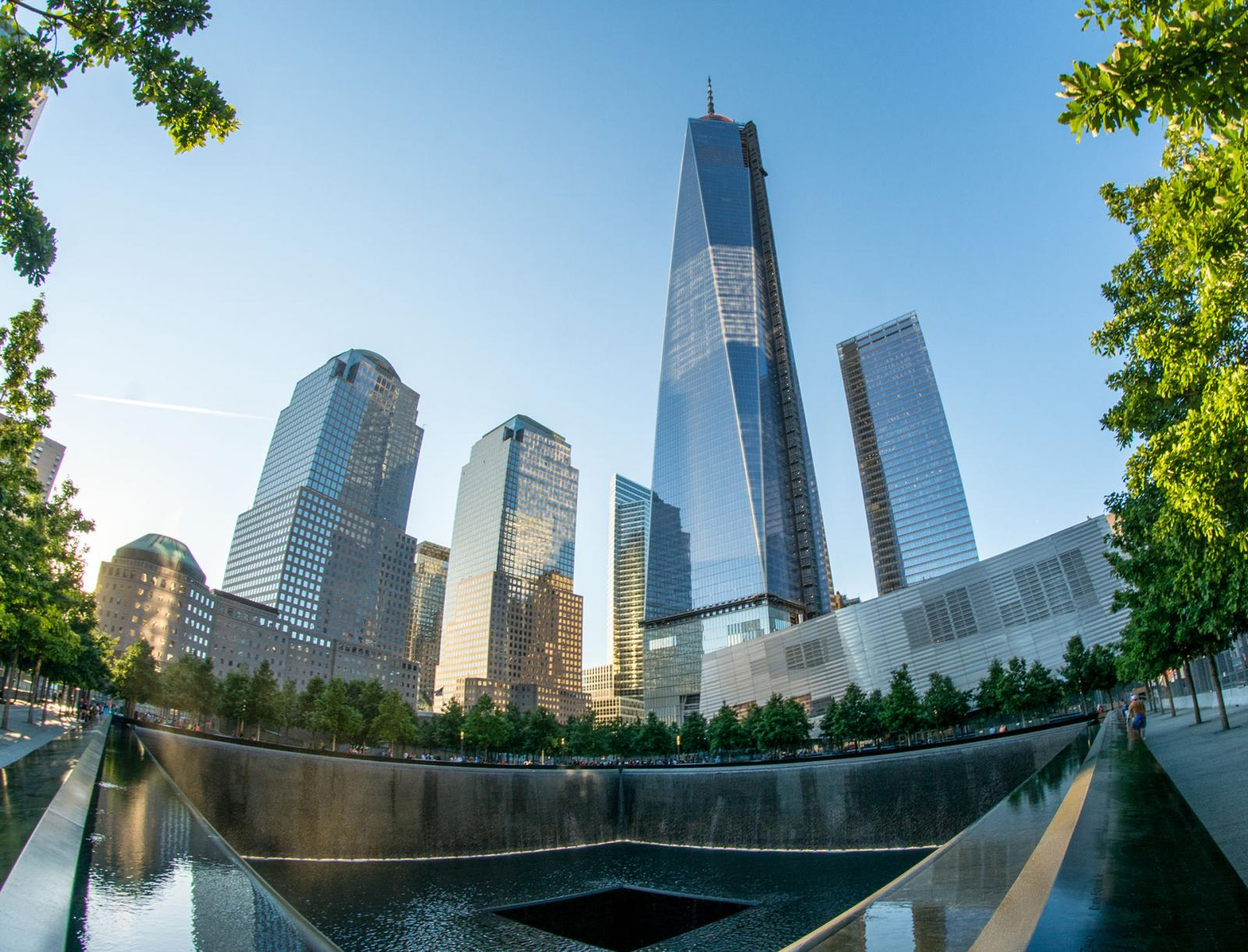 NEW YORK CITY - CIRCA JUNE 2013: NYC's 9/11 Memorial with new sk
