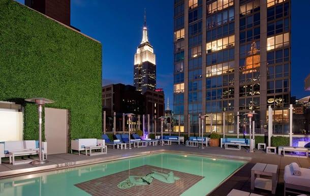 Rooftop-Bar Gansevoort Park Avenue NYC bei Nacht