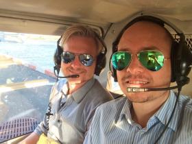Tino e Steffen nell'elicottero