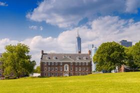Governors Island with Manhattan skyline on background