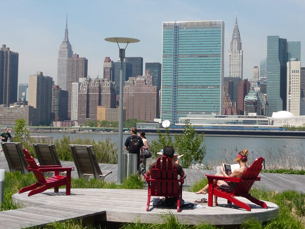 Gantry Plaza State Park by shinya Red Chairs