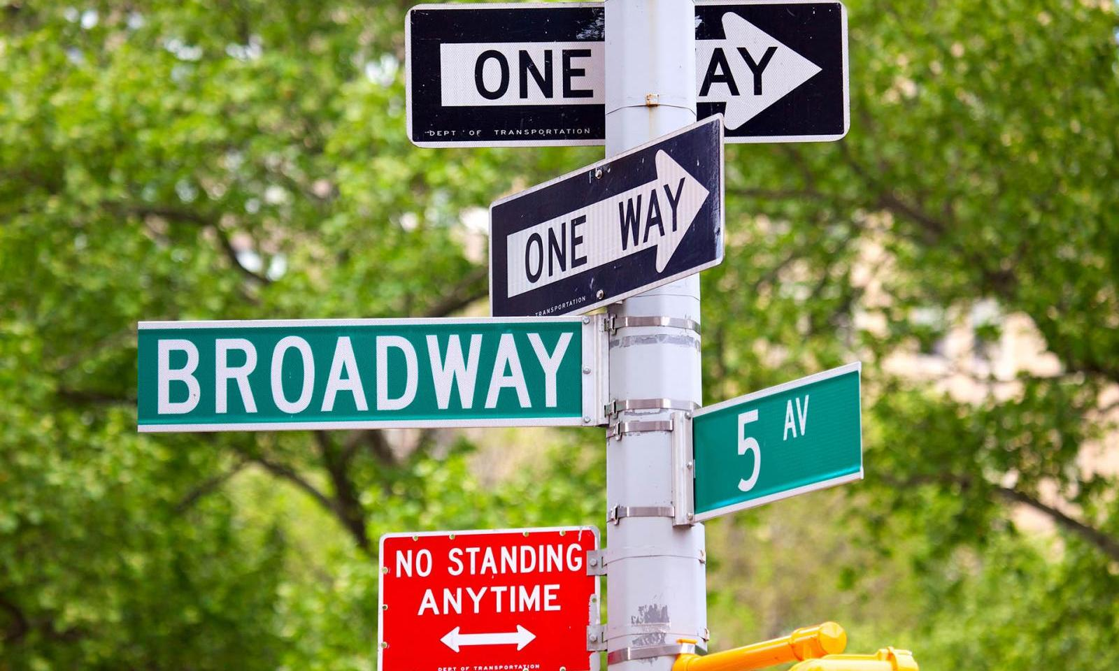 Broadway, 5th avenue and One Way Street Signs, New York