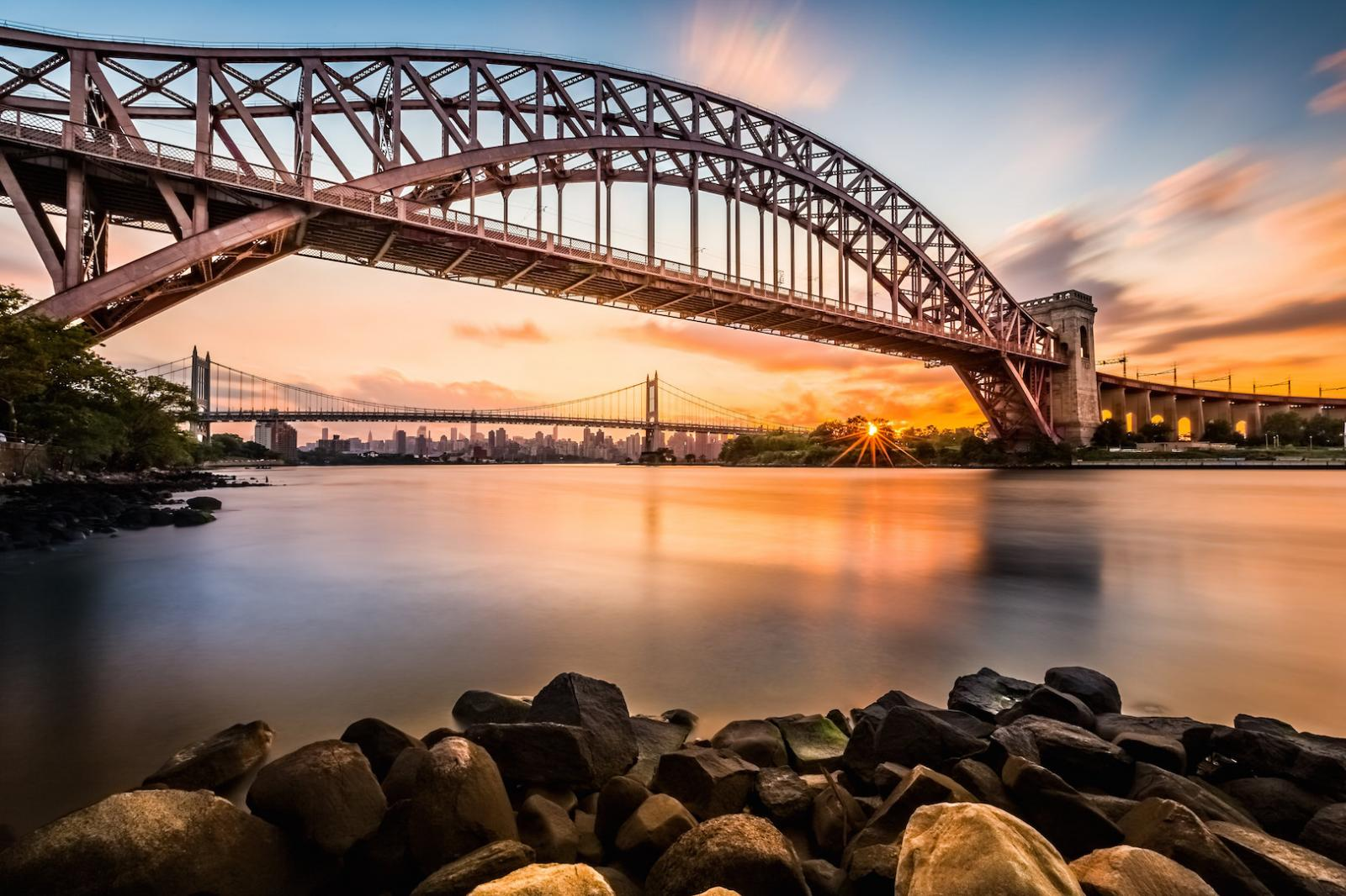 Hell Gate and Triboro bridge at sunset