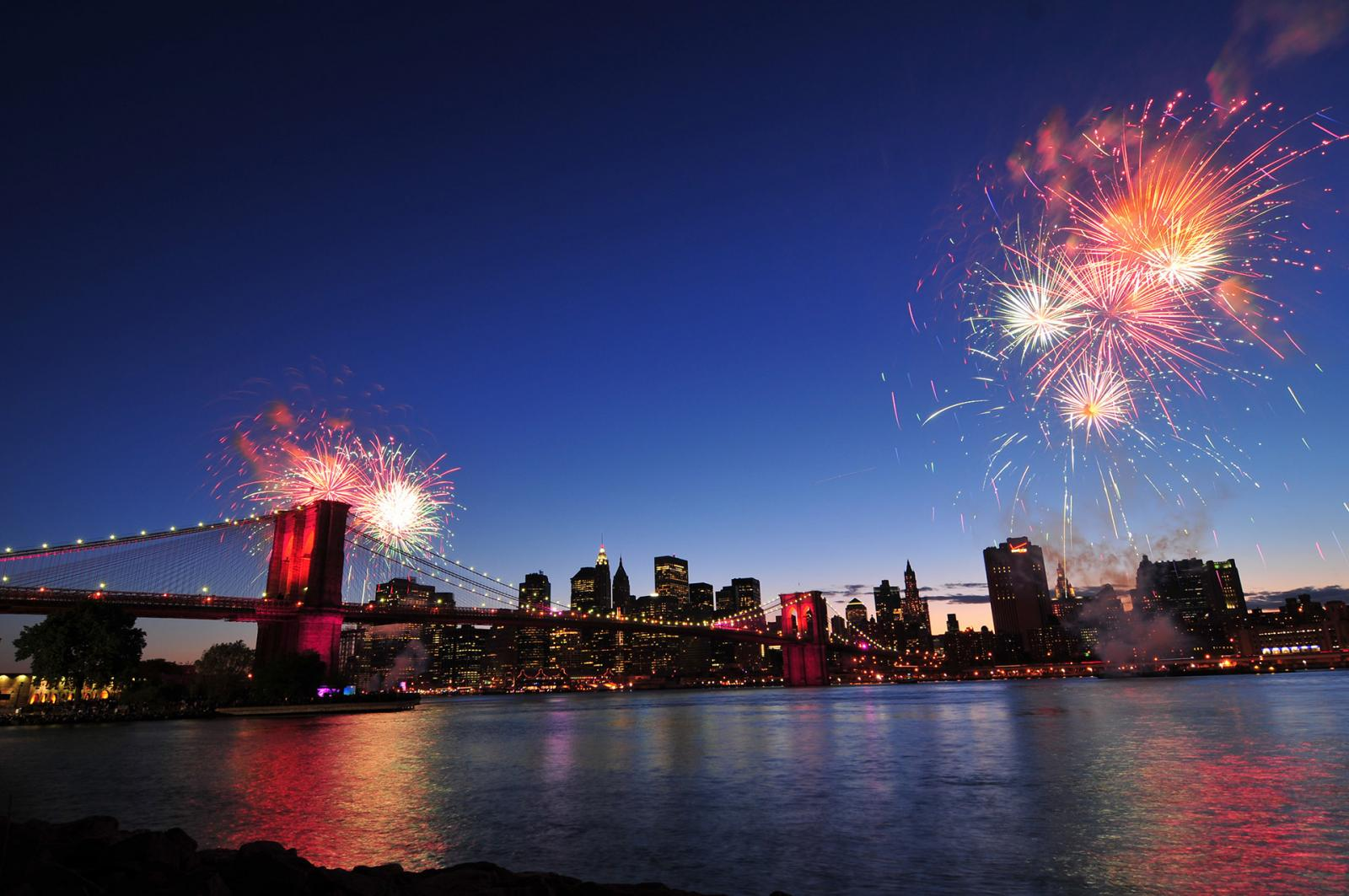 Brooklyn bridge and Fireworks.