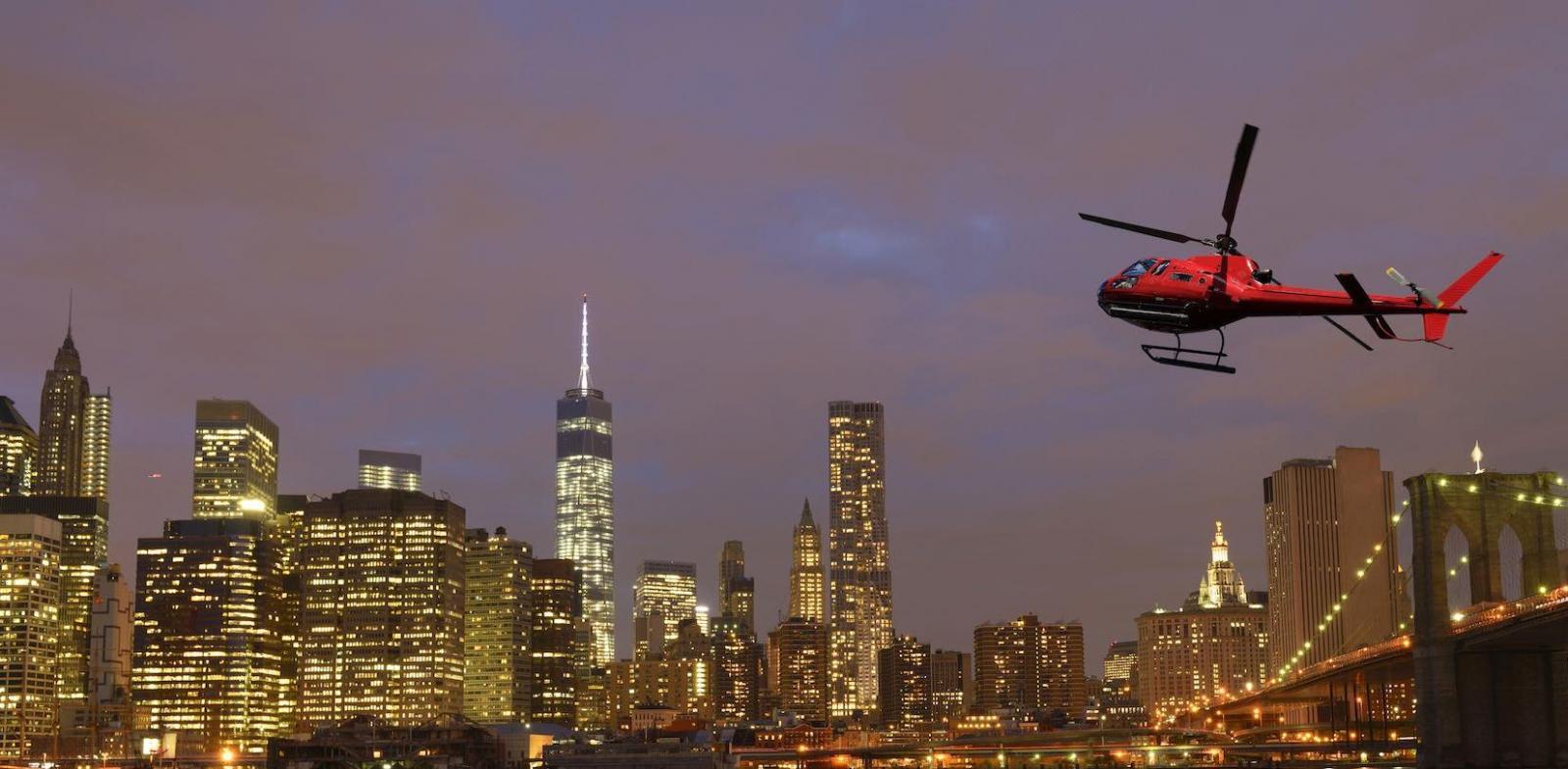 Helikopterflug bei Nacht und Tour zur Freiheitsstatue