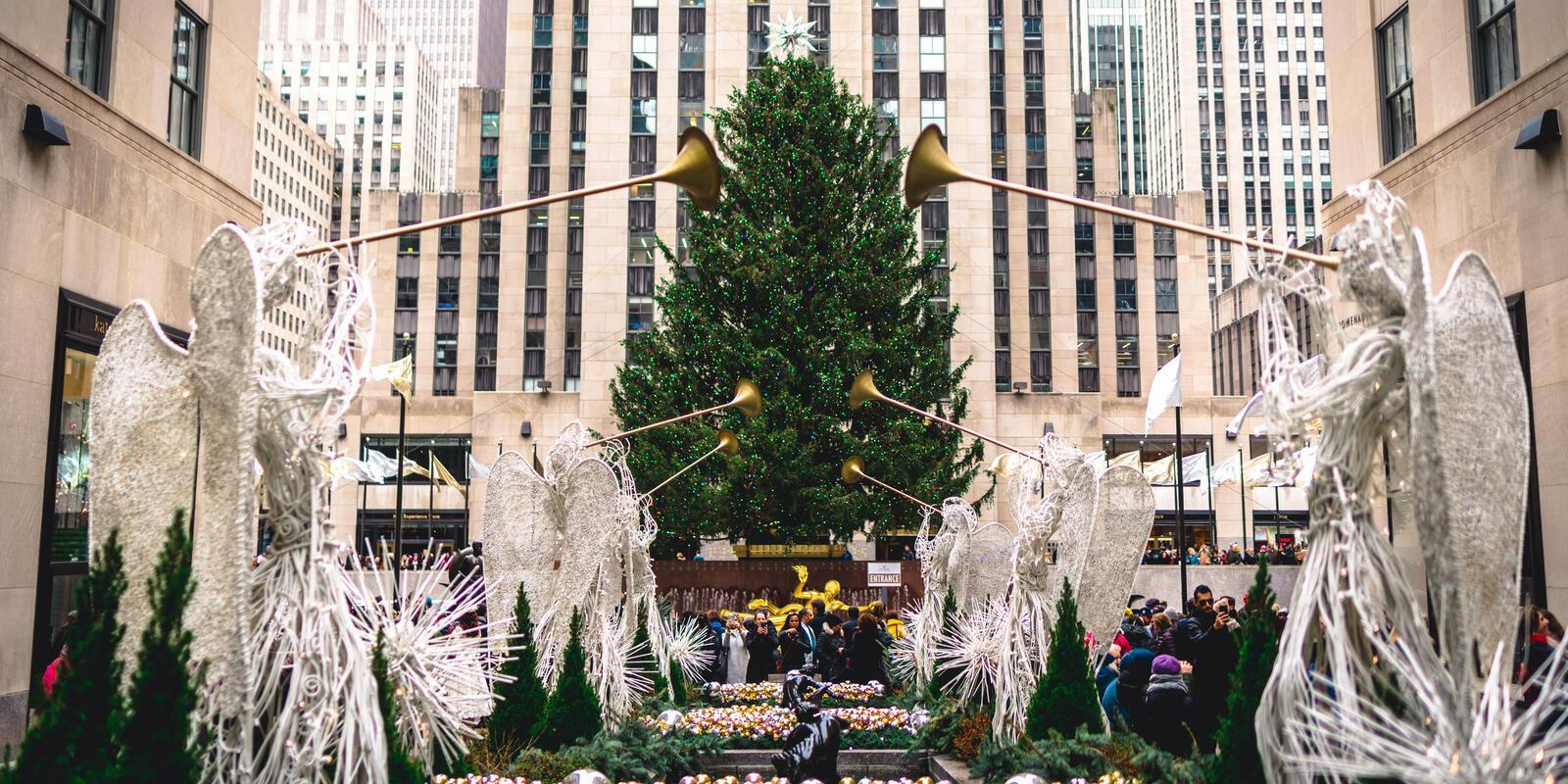 New York Weihnachten.Rockefeller Center Christmas Tree Lighting 2019 Alle