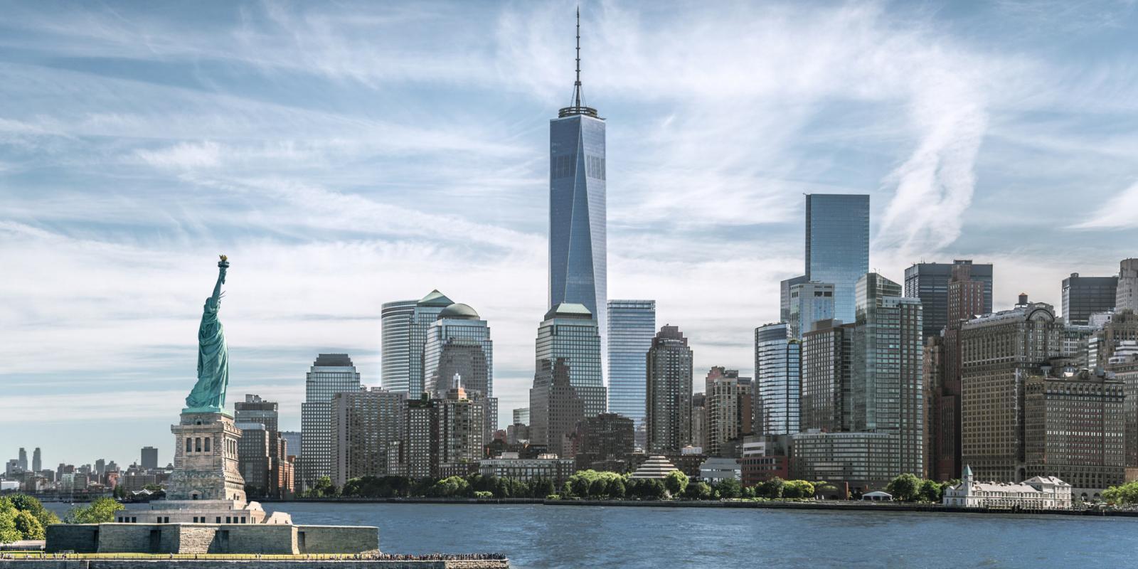 Lower Manhattan und die Freiheitsstatue