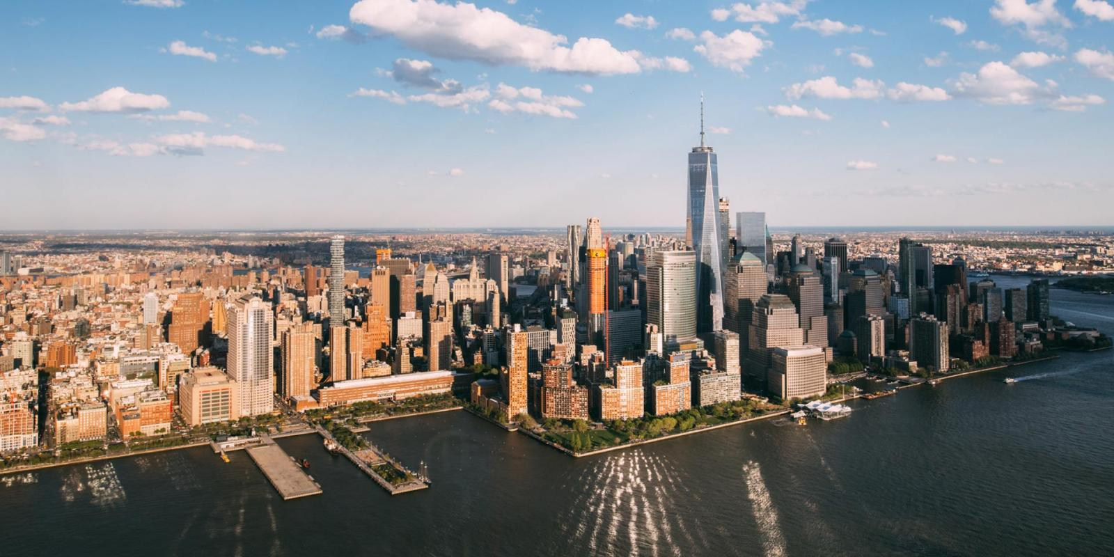 Manhattan view inside a helicopter