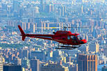 helicóptero rojo sobre manhattan
